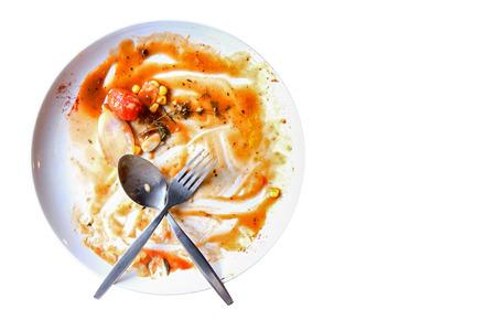 plato de comida: Vista superior de plato vac�o, sucio despu�s de la comida es copia espacio para el texto finished.with en el �rea derecha.
