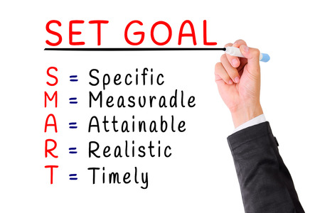 personality development: Hand writing smart set goal isolate on white,Concept for Personality Development