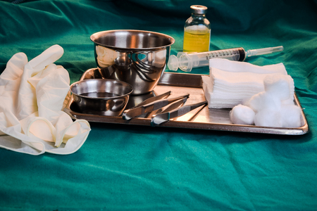 sterilization: Close up of dressing set often used supplies in a medical for cleaning wounds