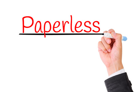 paperless: Business hand writing Paperless,Concept for Green office for Save the World.