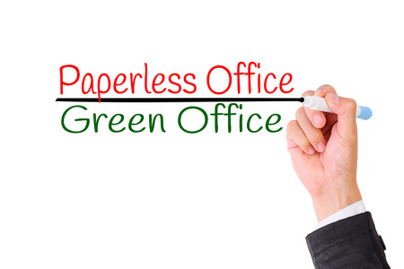 paperless: Business hand writing Paperless office,Concept for Green office for Save the World.