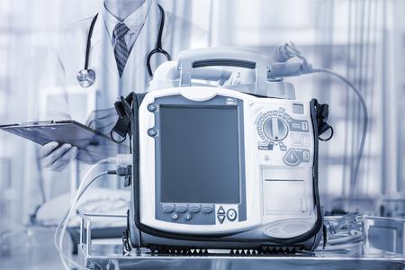 Mobile Heart Defibrillator unit in emergency room Stock Photo
