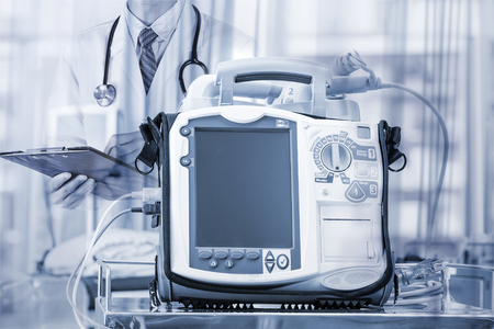 Mobile Heart Defibrillator unit in emergency room Banque d'images