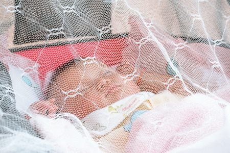 bebé que duerme bajo un mosquitero (DOF superficial)