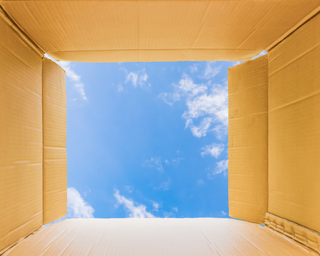 outside the box thinking: Thinking outside the open box to sky,concept the open mind freedom