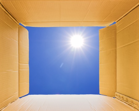 thinking outside the box: Thinking outside the open box to sky,concept the open mind freedom