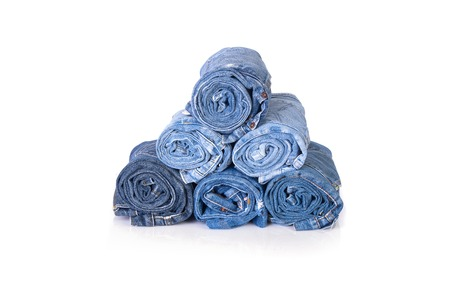 Blue jeans stack on isolate white background Stock Photo
