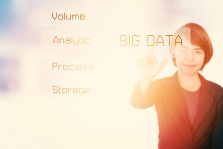 competitividad: Big data business woman presenting concept technology information concept