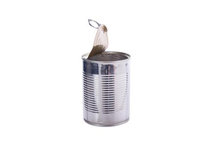 Open aluminum canned food isolated on white background Stock Photo