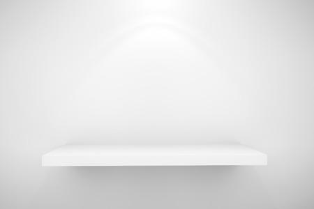 Die Leeren Weißen Regal An Der Wand Mit Weißem Hintergrund