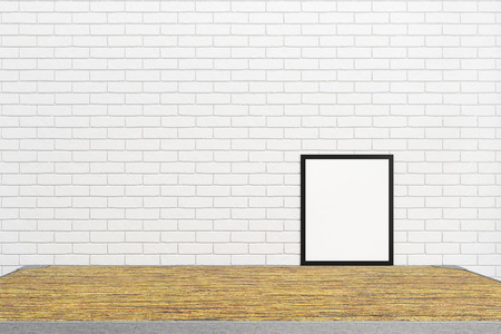 interior desing: Blank white brick wall interior with blank wood table and frame from for mockup design,3D illustration and rendering room ,copy space for desing Stock Photo