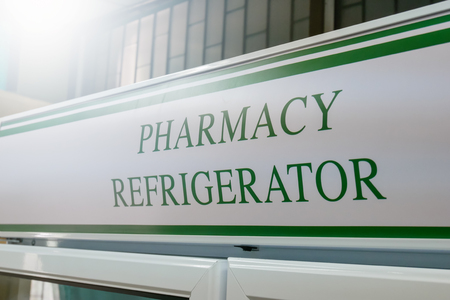 commercial medicine: Close up Pharmacy Refrigerators ,Laboratory Fridges and Freezers. Stock Photo