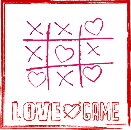 valentines day card tic tac toe game with hearts for game of love concept.