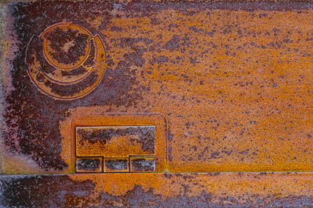 rusty metal grunge texture plate orange oxidized steel iron high resolution graphics background Stock Photo