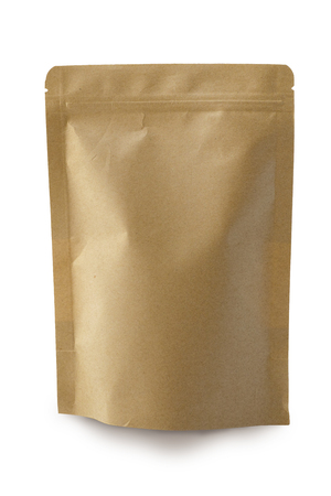 Brown paper sack packet with blank space for add design,container mock up Stock Photo