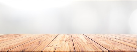 Teak Wood table top on white background for Wide Banner background used us montage display products design Foto de archivo