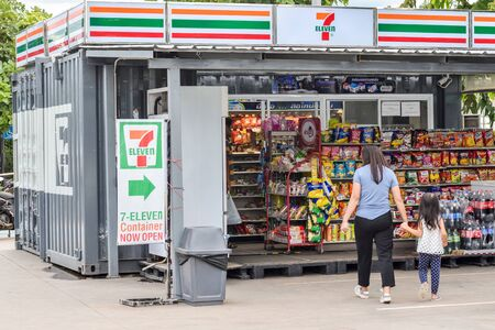 LOEI,Thailand,July 06,2019: 7 eleven mini shop in containers in the city design 7-Eleven is an brand of convenience stores that owns some 60,000 stores in 17 countries