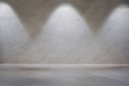 White gray concrete wall with Wall Light and blank concrete floor for backdrop design