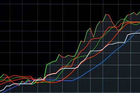 financial stock market graph chart investment trading stock exchange trading market screen at night time