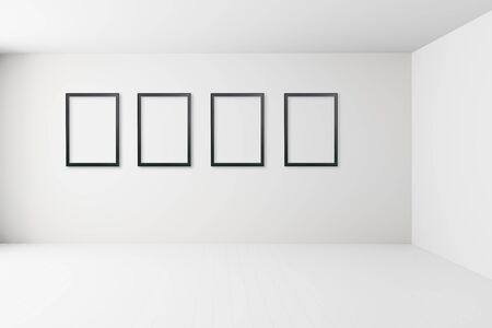 Blank white interior room with picture frame on wall ,empty white walls corner and white wood floor contemporary, frame mockup 版權商用圖片