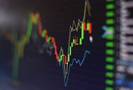 financial stock market graph chart investment trading stock exchange trading market screen at night time Close up for background