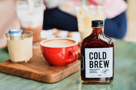 Cold brew coffee in a glass bottle for take away