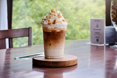 Cold coffee, Iced Caramel Macchiato Layered espresso drink, vanilla syrup, cold creamy milk espresso