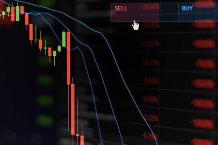 Red stock market graph be in the red on monitor chart investment be in the red trading stock exchange trading market screen at night time for background
