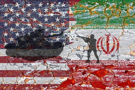 Concept of Conflict between USA and Iran war America and Iran flags on split up cracked earth ground Stock fotó