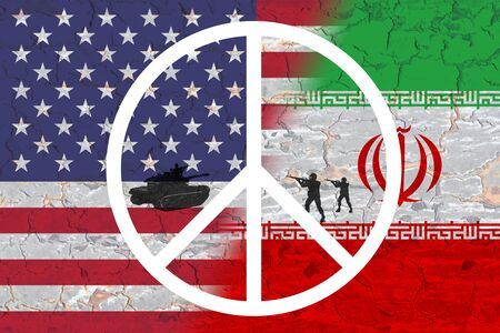 Conflict between USA and Iran war Concept, America and Iran flags on split up cracked earth ground Stock fotó