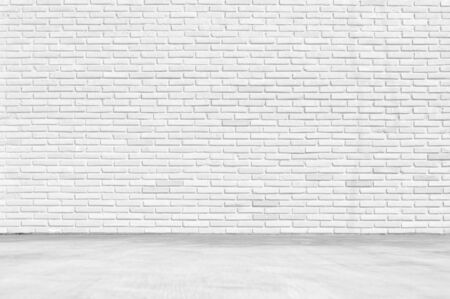 Empty White Room ,Clean white brick wall Texture with white floor Background for Presentations and Web Design. A Lot of Space for Text Composition art image, website, magazine or graphic design