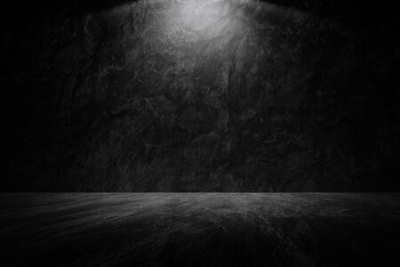 Old grunge dark wall with IES light black gray cement wall floor texture background A Lot of Space for Text Composition art image, website, magazine design blackdrop.