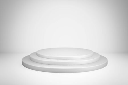 Abstract White Circular Pedestal Stage for Winning Awards , Blank white round podium for present advertising product design mockup.3D render illustration