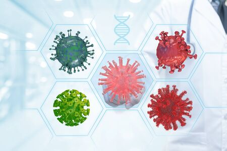 scientist touching on screen with virus and bacteria cells virus research for prevent outbreak , immunity, diseases and therapy.