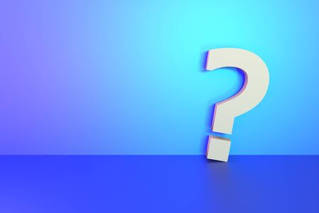 question mark sign on blank vibrant light wall background for design.