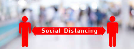 Social distancing with many blurred people walk in reception corridor Background From Building Hallway public place station  virus outbreak pandemic 版權商用圖片