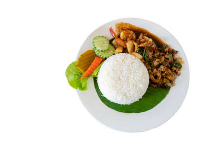 Thai spicy fried sea and meat basil recipe ,Pad Gaprao