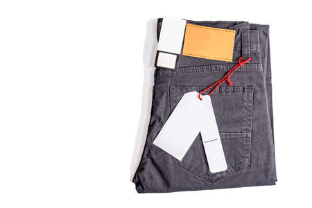 Label price tag leather blank logo on pants from for Mock up isolated on white background High Resolution.