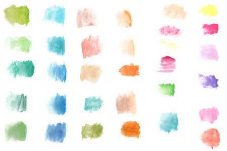 set of abstract splashes paint brush of colorful multicolored watercolor on white paper background