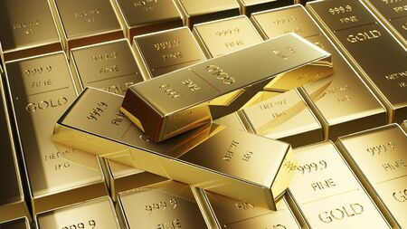 Stock gold market precious background, Gold bars and Financial concept. 3d render.