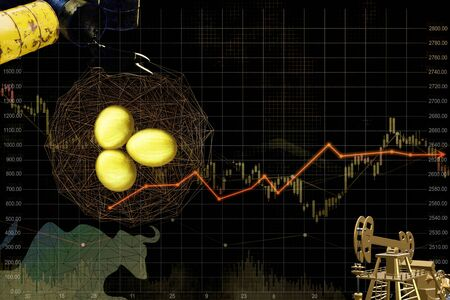 Gold egg with Barrel of oil and price chart on black ground, Currency money graph forecast of oil crude and gold. 3d render. 免版税图像