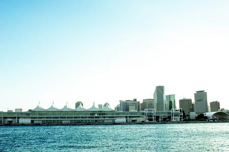 マイアミ港と建物 写真素材