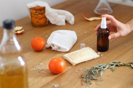 Homemade citrus cleaner. Zero waste home cleaning concept. Eco home cleaning. Stok Fotoğraf