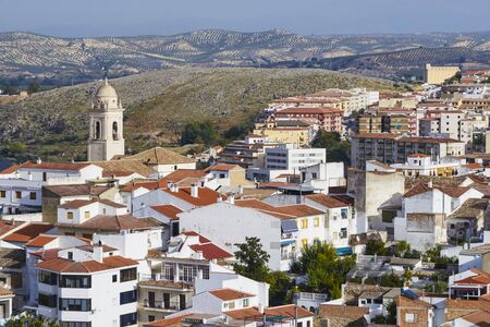 viewpoint overlooking the city of Loja with the Church of Santa Catalina, Granada. Spain