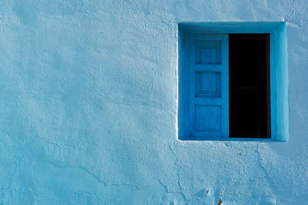 architectural details of Juzcar, Spanish city of Malaga. Located in the Genal Valley in the Serranía de Ronda. The town was painted blue as the setting to shoot a famous movie.