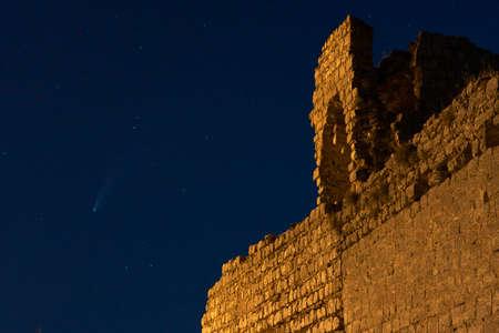 ruins of La Estrella castle in Teba at night, Malaga. Andalusia, Spain