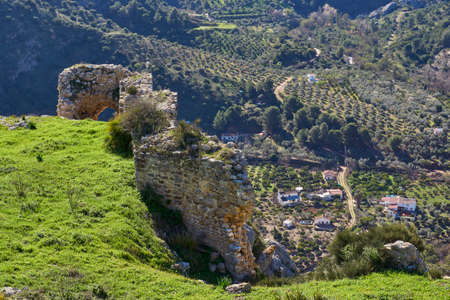 remains of the wall and castle of Turon in Ardales, province of Malaga. Andalusia, Spain.