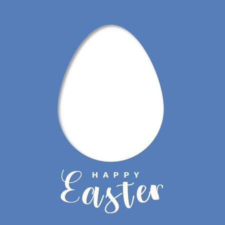 Easter card template in blue