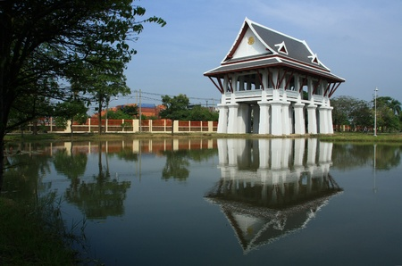the pavilion and lake in Thailand photo