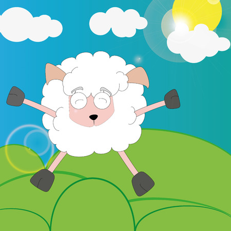 over the hill: cartoon style painted sheep rejoices vyglyanuvshemu sun from behind the clouds